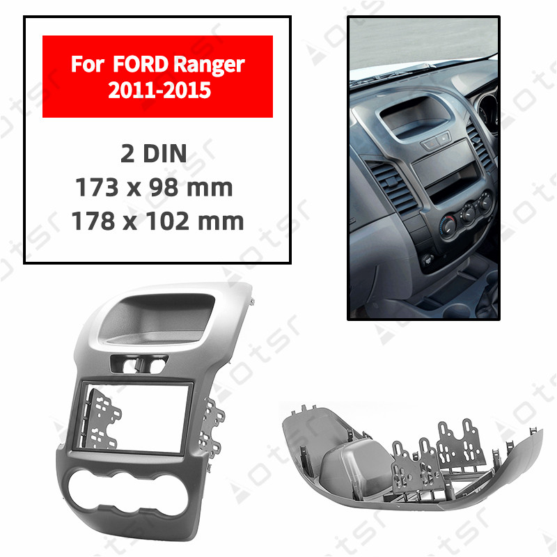 Car Radio Fascia Stereo Panel Plate For FORD Ranger 2011 2012 2013 2014 2015 Manual Air-conditioning Black Frame Dash Kit
