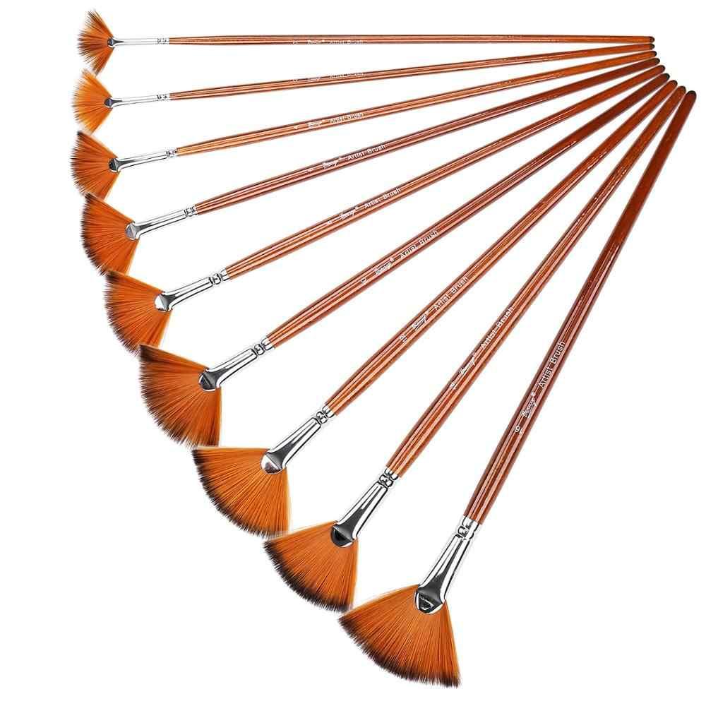 9 шт. нейлоновые кисти для рисования набор кистей веерообразная гуашь, акварель акрил, масло школьный инструмент для рисования принадлежности художественные Кисти кисть