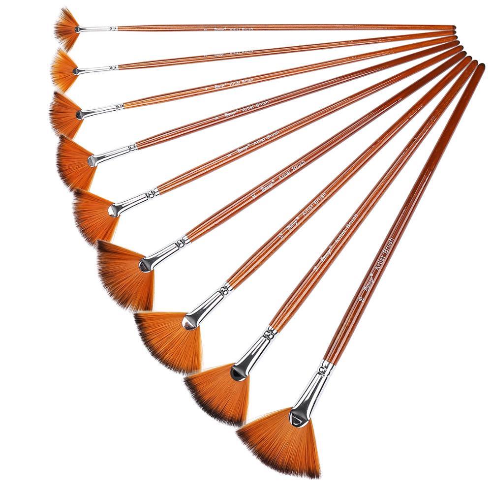 9Pcs Nylon Hair Painting Brush Set Fan Shaped Gouache Watercolor Acrylic Oil School Drawing Tool Brush Art Supplies Brush