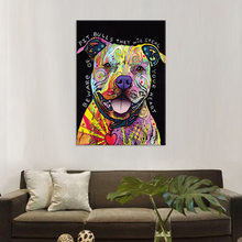 Modern Abstract Oil Painting on Canvas Colorful Dog Pop Wall Art Picture Posters and Prints Canvas Painting For Home Decoration(China)