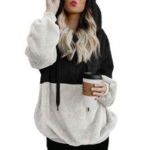 Women\'s Fleece Hoodies Autumn Winter Patchwork Colors Sweatshirt Long Sleeve Hooded Pullover Warm Zipper Hoodie Sweatshirt stylish scoop neck long sleeve zipper design women s sweatshirt