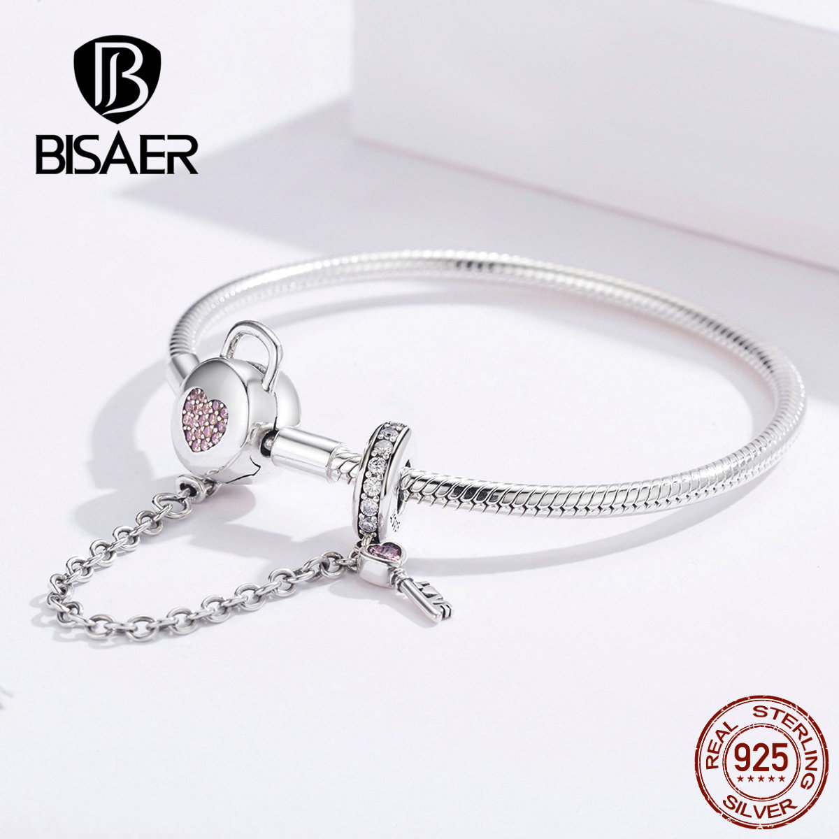 BISAER Trendy Pink Heart Safety Chain <font><b>Bracelet</b></font> <font><b>925</b></font> Sterling Silver Fit Original <font><b>PAN</b></font> Charms Beads Pendants Jewelry Making HSB143 image