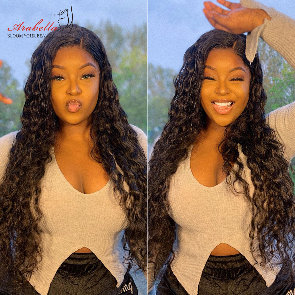 Transparent Lace Front Wig Water Wave  Wig Pre Plucked Lace Wig With Baby Hair  13X4 Lace Frontal Water Curly Wig 6