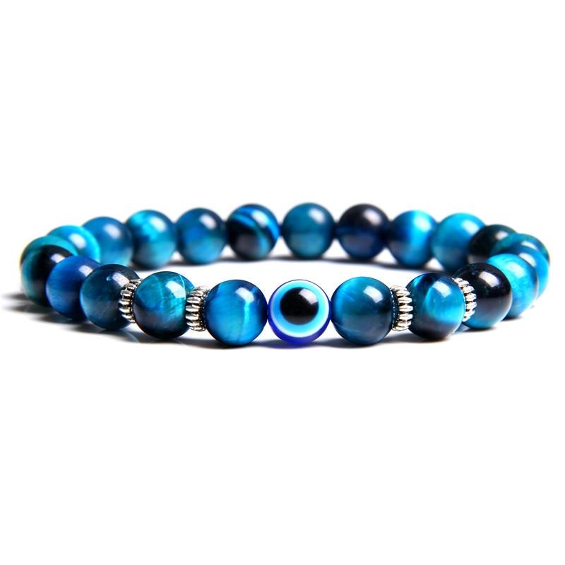 Natürliche tibetischen lava tiger auge stein armband 8mm für männer frauen glück blau griechisch türkisch teufel bösen blick armband schmuck männlichen