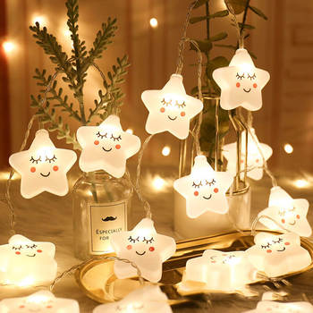 LED Star Light String Moon Lamp Cloud Garland Curtain Novelty Holiday Bedroom Christmas Outdoor Wedding Fairy Party Decorations 3 5m 220v led moon star lamp christmas garland string lights fairy curtain light outdoor for holiday wedding party decoration