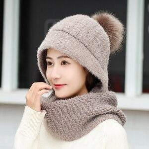 Image 2 - Роскошная теплая вязаная зимняя женская шапка для девочек, шапочки с кроличьими волосами, бархатная шапка маска, Femme Балаклава Шарф, шапка