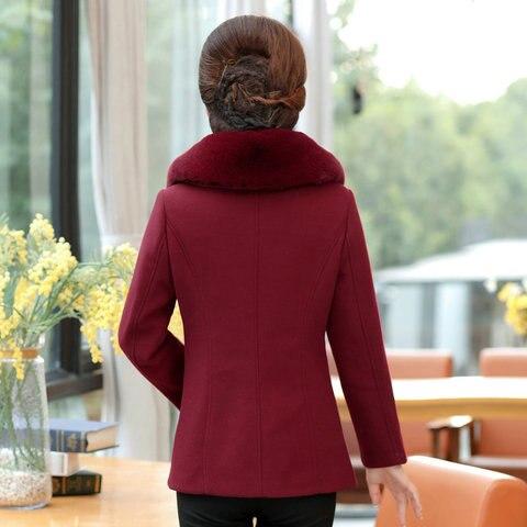 Winter Women Wool Blend Pea Coats Green Purple Red Thick Warm Fur Turn Down Collar Tweed Jacket Mature Women Elegant Peacoat 4XL Islamabad