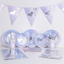 Stamping Silver Mermaid Party Disposable Tableware Little Mermaid Under The Sea Party Girl 1st Birthday Party Decor Mermaid