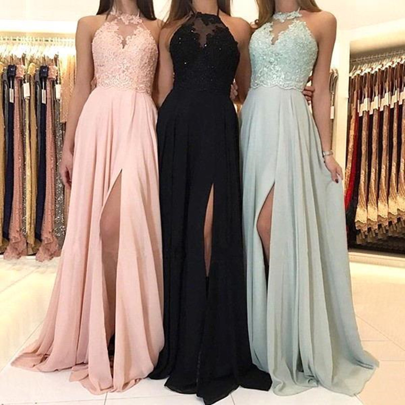Pink Chiffon Bridesmaid Dress Lace Women Guest Wedding Party A Line Halter Gowns robe demoiselle d honneur