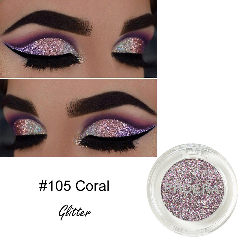 PHOERA Glitter Eye Shadow 12 Colors Cosmetic Makeup Diamond Lips Loose Makeup Eyeshadow Pigment Powder Comestics TSLM2