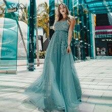 Sexy Floral Appliques Maxi Kleid A-linie Doppel V-ausschnitt Ärmellose Tüll Frauen Kleid Damen Elegante Party Kleid Lange Jurken 2020