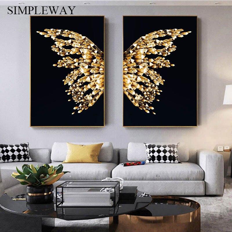 Affiche Geometrique Avec Papillon Dore Peinture Murale Minimaliste Tableau Moderne Pour Maison Salon Aliexpress