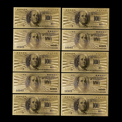 10 шт. Реплика США 100 долларовая Золотая банкнота Денежная купюра монета медаль 24k Соединенные Штаты Америки памятная