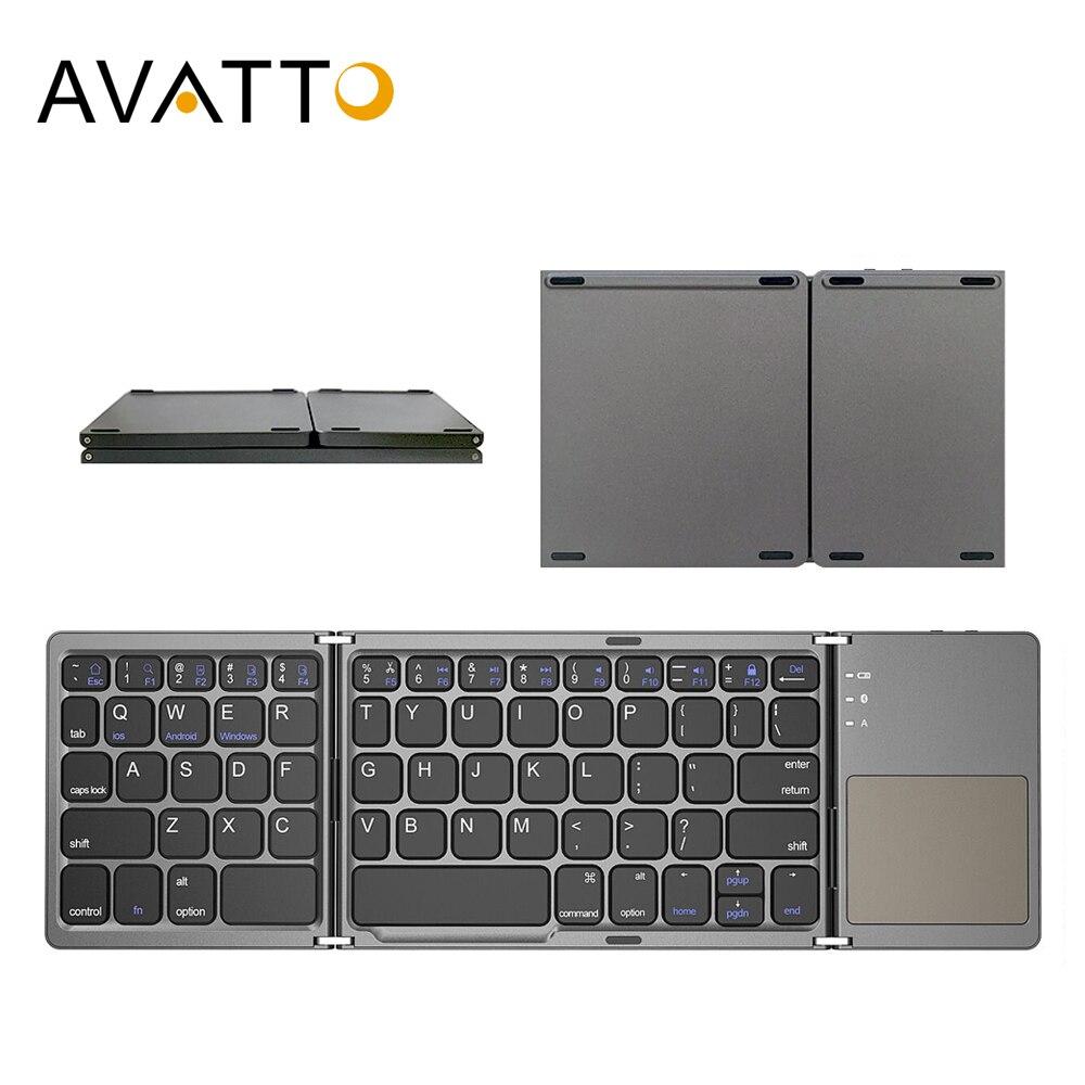AVATTO русский/испанский/Арабский B033 мини складная клавиатура, Беспроводная Bluetooth клавиатура с тачпадом для Windows, Android, IOS
