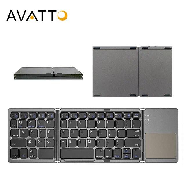 AVATTO B033 מיני מתקפל מקלדת Bluetooth 5.0 מתקפל מקלדת אלחוטית עם משטח מגע עבור Windows, אנדרואיד, ios Tablet ipad טלפון