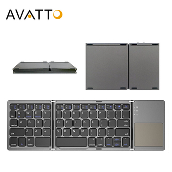 AVATTO Russian/Spanish/Arabic B033 Mini Folding keyboard, Wireless Bluetooth Keyboard with Touchpad for Windows, Android, IOS