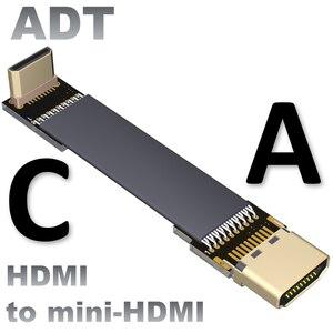 Мини HDMI Передача 4K экран 60 Гц FPV Аэрофотосъемка, тонкий плоский высокоскоростной Удлинительный шнур, изгиб кабеля 90 градусов 4K @ 50/60(2160p)