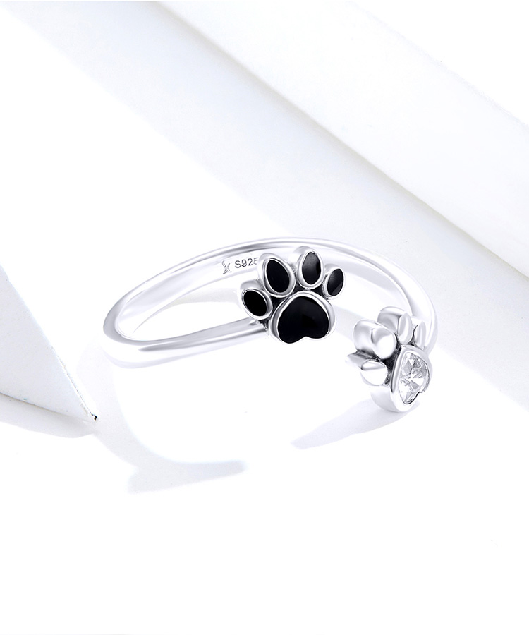 Hc462033f0d1e4344924c9c3e802e6b7fo - bamoer Sterling Silver 925 Black Enamel Dog Paw Open Adjustable Finger Rings for Women Anti-allergy Jewelry Accessories SCR605