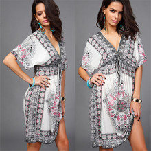 Plus Size Beach Dress 2019 Sexy Cover Up Beach Women V-neck Bikini Cover Ups Print Beachwear Summer Swim Dress Saida De Praia