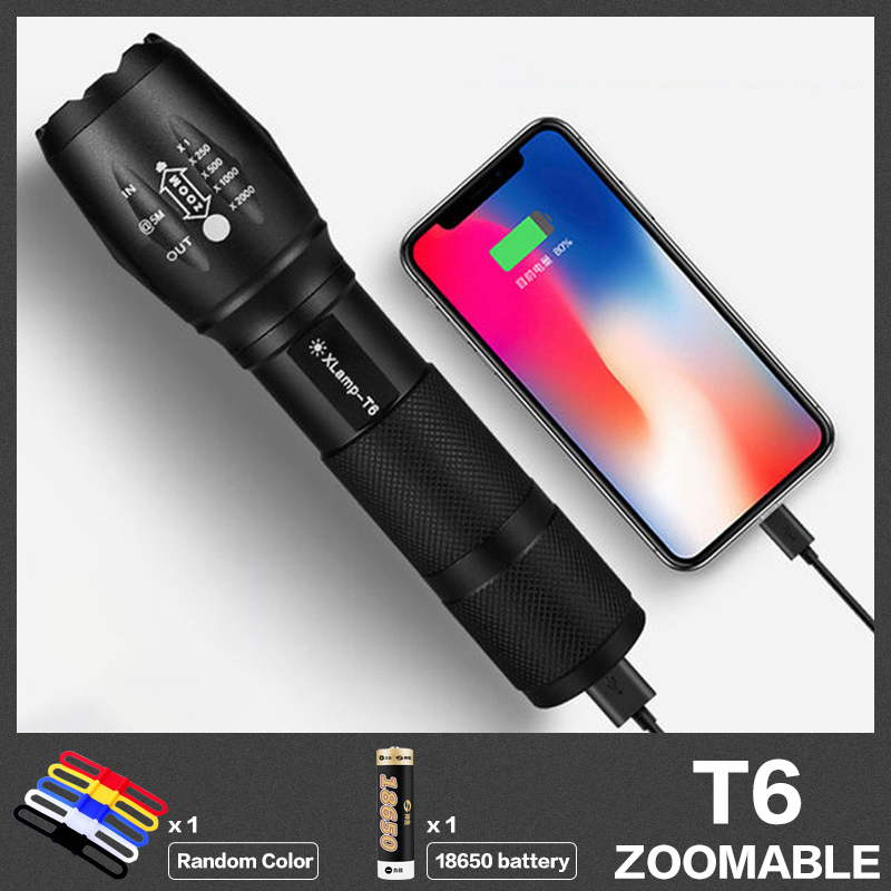Светодиодный водонепроницаемый фонарь, портативный, USB, перезаряжаемый, T6, тактический, ручной фонарь с мобильным питанием для кемпинга