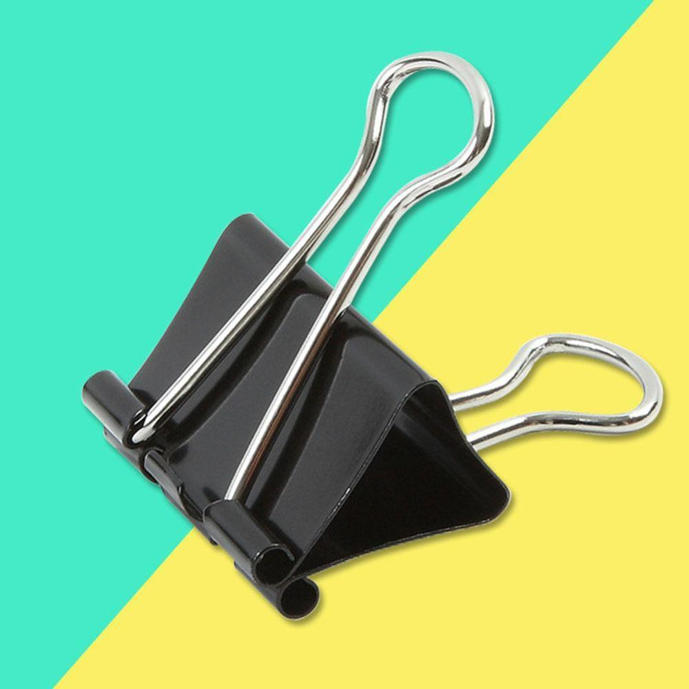 12PCS Paper Clip 19/25/32/41/51mm Foldback Metal Binder Clips Black Grip Clamps Office School Stationery Paper Document Clips