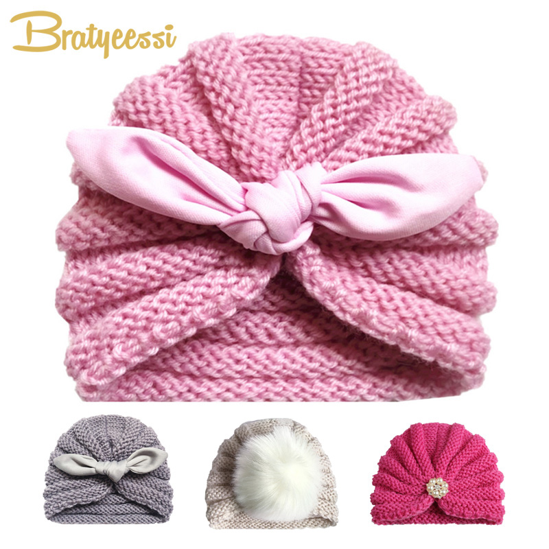 Knitted Winter Baby Hat for Girls Candy Color Bonnet Enfant Baby Beanie Turban Hats Newborn