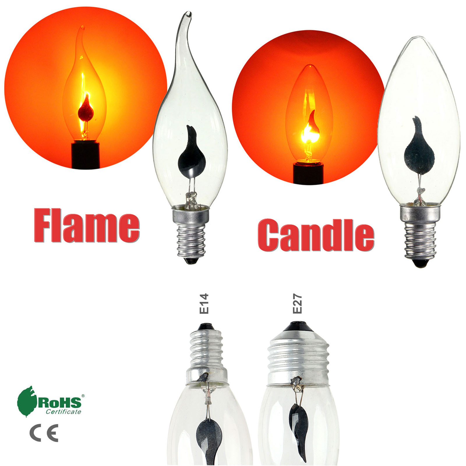 LED Flame Tip Candle Simulated Nature Fire Flickering Light E14 E27 3W Filament Bulb Vintage Bar Pub Home Decor Lamp 220V
