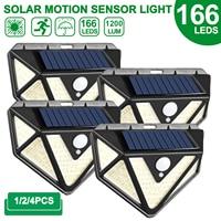 Lámpara de seguridad impermeable para jardín, luz Solar de pared con Sensor de luz por movimiento PIR, 166 LED, para exteriores