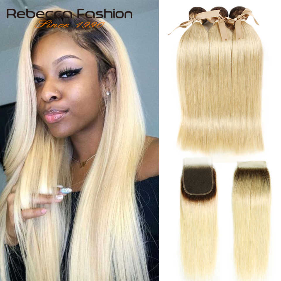 Rebecca Ombre Blonde Bundles With Closure Peruvian Straight Remy Human Hair T4/613 Honey Blonde Bundles With Closure