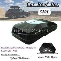 Universal Für Jeep SUV Auto Dach Boxen w/Anti theft Lock 320L Schwarz Rooftop Rack Montieren Gepäck Pod cargo Box Träger Roofbox-in Dachgepäckträger & Boxen aus Kraftfahrzeuge und Motorräder bei