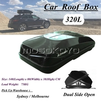 Universal For Jeep SUV Car Roof Boxes w/ Anti theft Lock 320L Black Rooftop Rack Mount Luggage Pod Cargo Box Carrier Roofbox