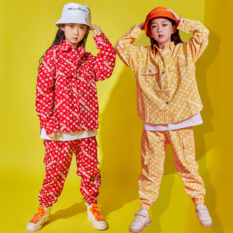 Hip Hop Dance Costumes Kids Street Dancing Clothes Stage Show Wear Jazz Rave Outfit Boys Fashion Print Red Yellow Coat DNV12167