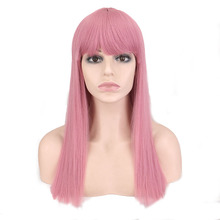 Bob-Wig Pink Bangs Short Synthetic Wig Party-Costume Women QQXCAIW with for 47cm Daily-Use