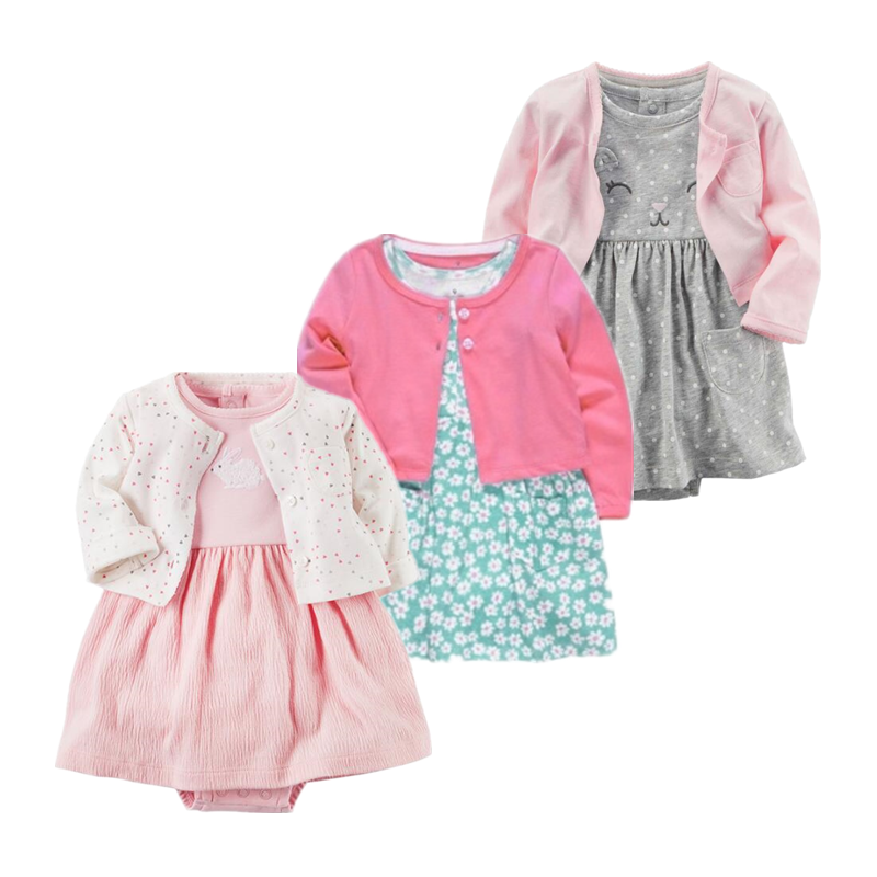 Spring Autumn Children Girls Sets Bodysuit+jackets Newborn Girl Clothes Roupa Jumpsuits Cotton Baby Kids Clothing For Dresses