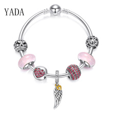 YADA INS pink heart Bracelets&Bangles For Women Brand silver color Angel Wings Bracelets Charm Crystal Jewelry Bracelet BT200191