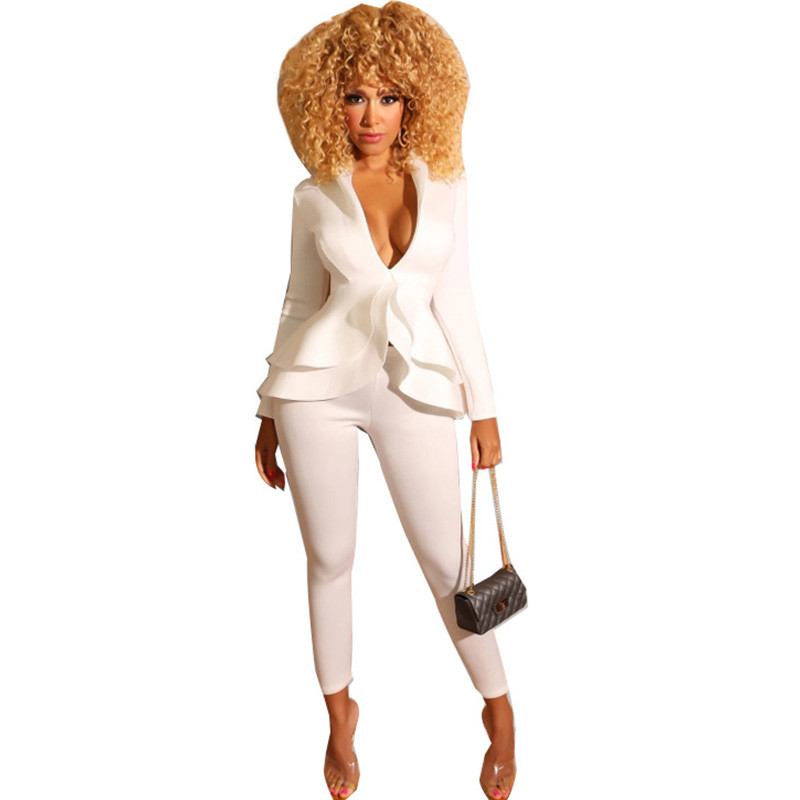 White Elegant Pant Suits For Women Layer Ruffles Hem Slim Blazer Jacket + Ankle-length Pants Sexy Business Party 2 Piece Outfits