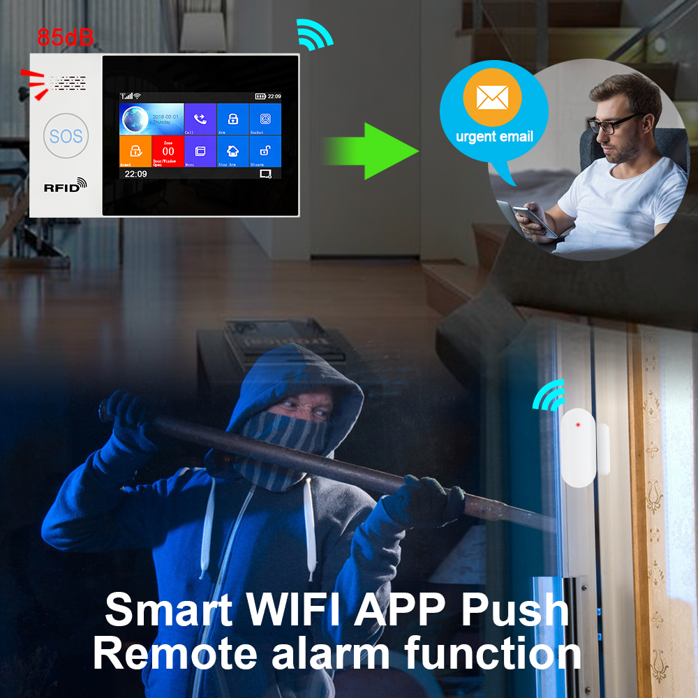 Hc462b8edbb9a4d6f8913f91a39f54bdaC - Awaywar WIFI GSM smart Alarm System home Security Burglar kit 4.3 inch touch screen APP Remote Control RFID Arm Disarm