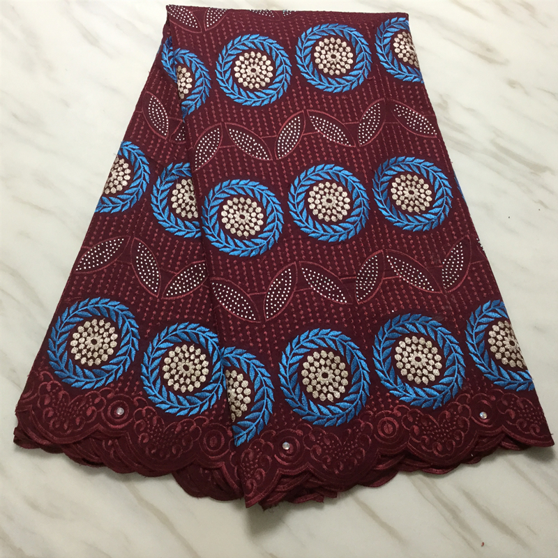 Latest Style Burgundy Gorge Lace Fabric 2020 High Quality African Nigerian Guipure Lace Fabrics With Beads For Woman Party Dress