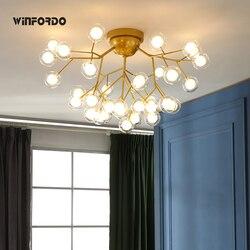Nowoczesne oświetlenie Led żyrandole sufitowe gałąź drzewa zamontować dzieci lampy Ball klosze szklane światła do salonu