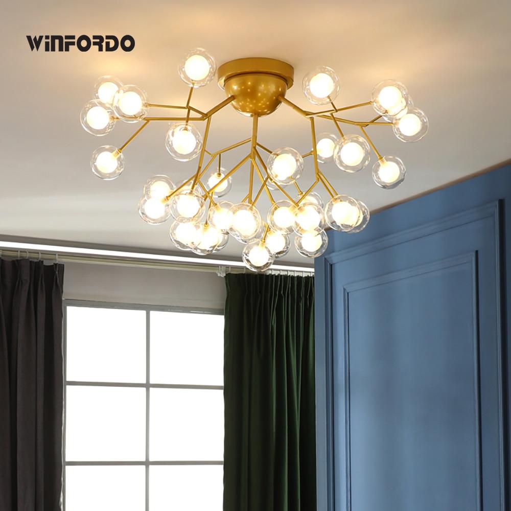 lustre de teto moderno led luminaria em galhos de arvore lampadas para criancas bola de vidro