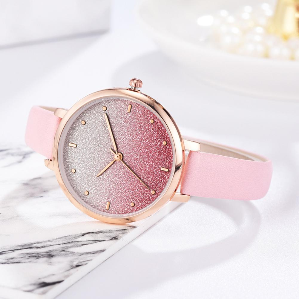 Fashion Women's Watches Quartz Leather Newv Strap Ladies Dress Luxury Watch Shimmer-Round Dial No Number Analog Wrist Watch