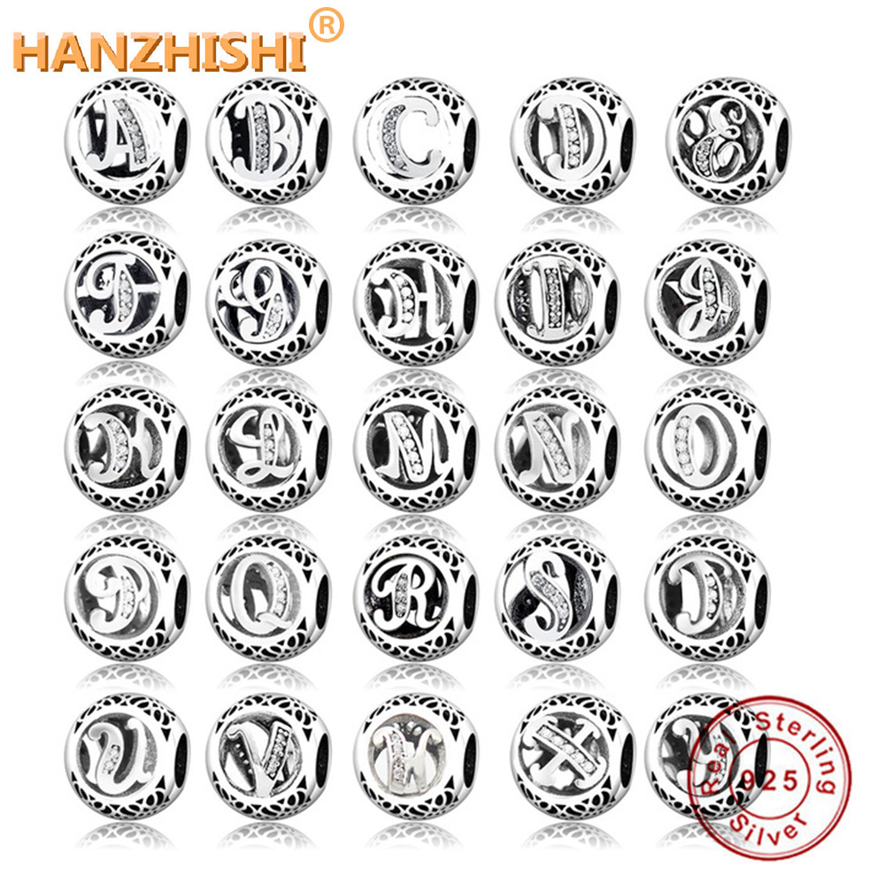 2019 Dropshipping DIY Fit Original Pandora Charms Bracelet Alphabet Letter Charm 925 Sterling Silver Letter Bead Jewelry Making(China)