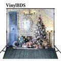 Винилбд Рождественский фон для фотографии  белая кирпичная стена  деревянный пол  фон для детской фотостудии с рождественской елкой