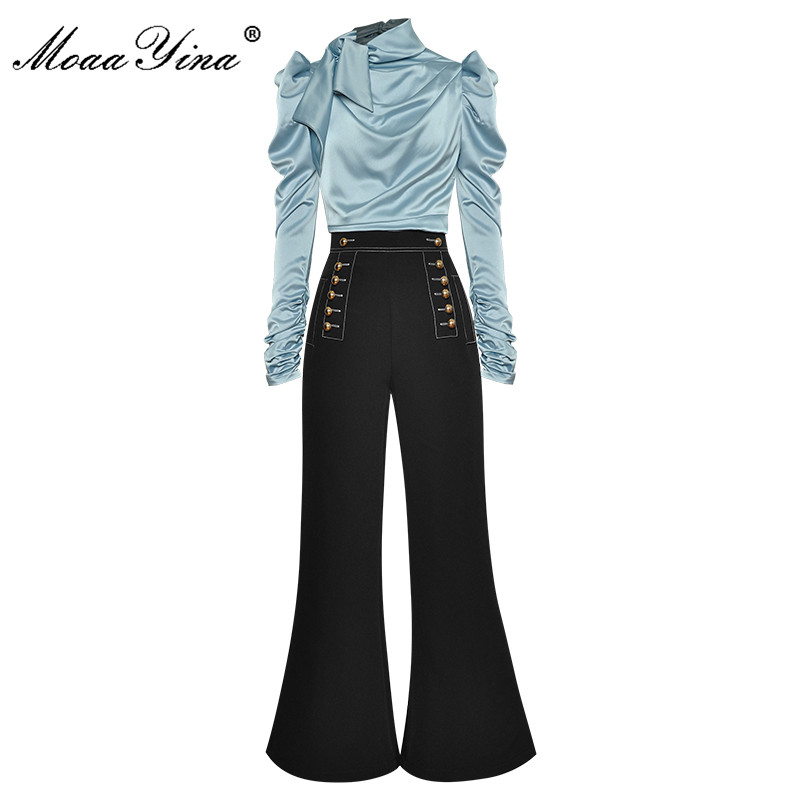 MoaaYina Fashion Designer Set Autumn Women Ruched Long Sleeve Tops+Double breasted bell-bottoms Two-piece set