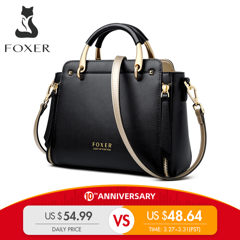 FOXER Handbag Women Purse Chic Totes Female Split Leather Shoulder Bags Large Capacity Handbags Stylish Messenger Bags 928019F
