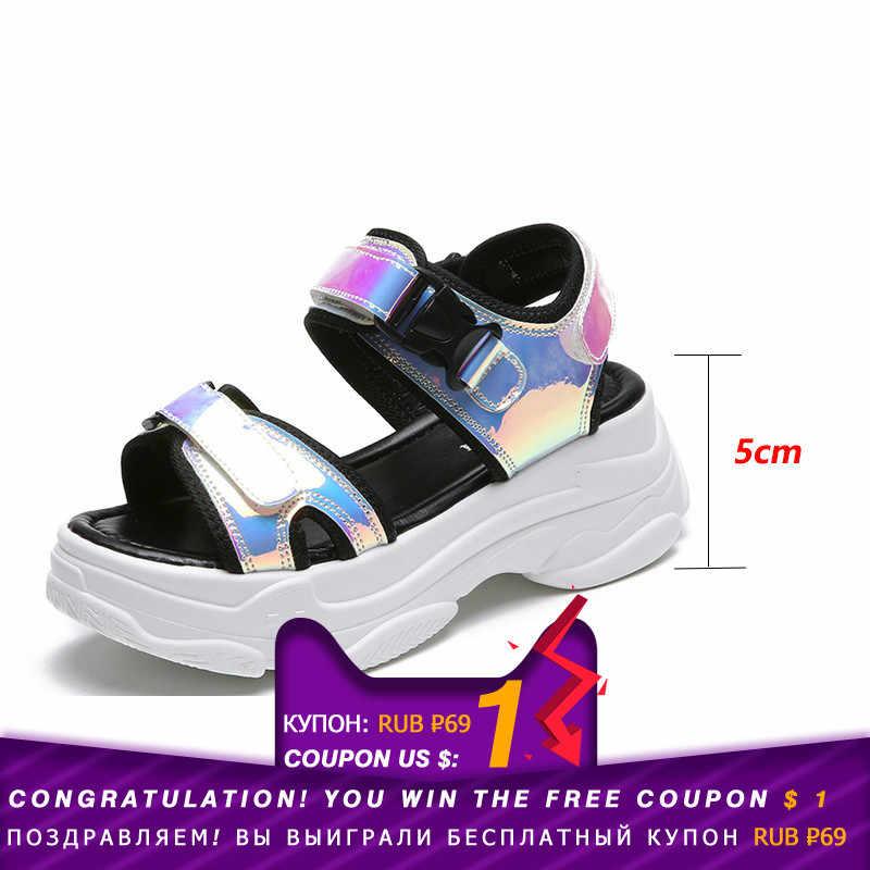 Fujin Merek Sandal Wanita 2020 Baru Fashion Wanita Kasual Sepatu Wanita Wedges Gesper Tali Sepatu Platform 5 CM Musim Panas sandal
