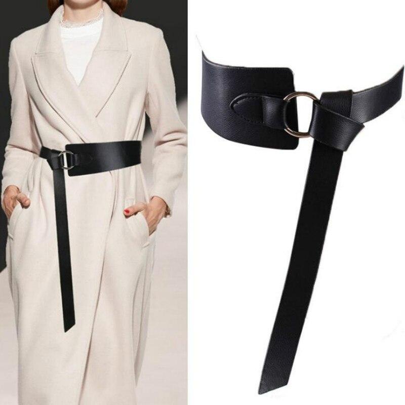New Women Wide Corset Leather Belt Female Tie Obi Decoration Waistband Thin Black Brown Ladies Wedding Dress Bow Leisure Belts|Women