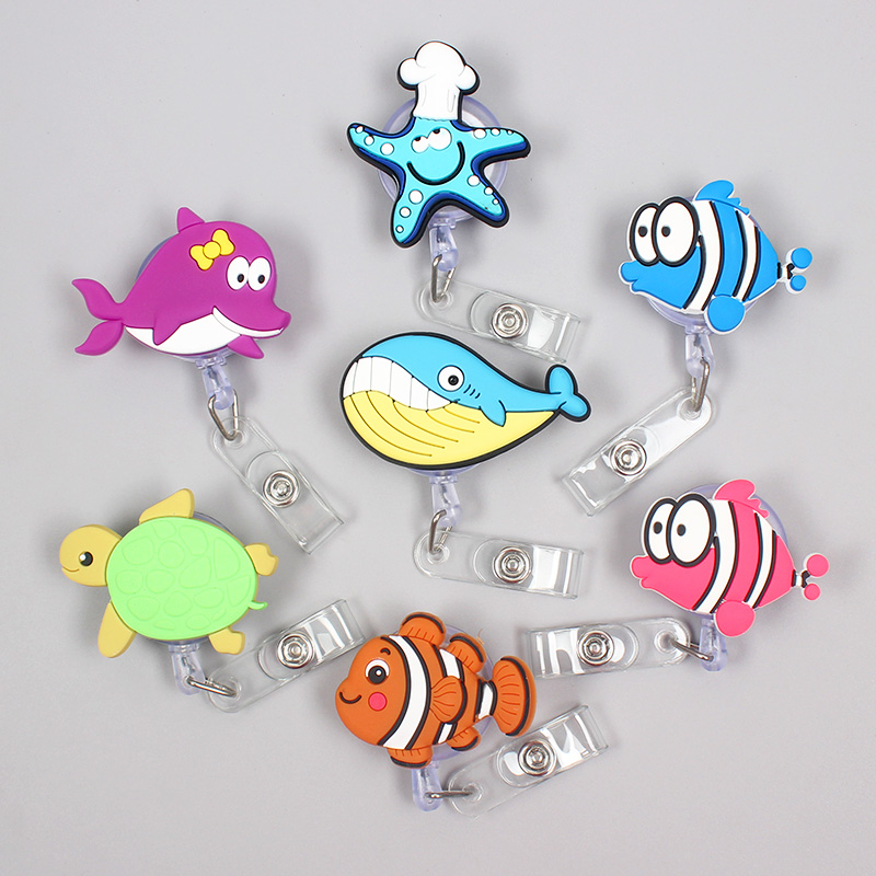 Creative Ocean Fish Clown Retractable Boy Starfish Turtle Card Holder Badge Reel Nurse Exhibition Enfermera Girl Name Card Chest