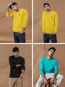 Image 3 - SIMWOOD 2020 bahar yeni uzun kollu t shirt erkekler rahat temel % 100% pamuk tshirt logo rahat üst artı boyutu t shirt SI980594