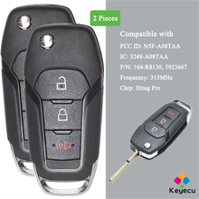 KEYECU 2 parça çevirme uzaktan araba anahtarı ile 3 düğmeler 315MHz   FOB Ford F150 F250 F350 F 450 f 550 Explorer FCC ID: n5F A08TAA